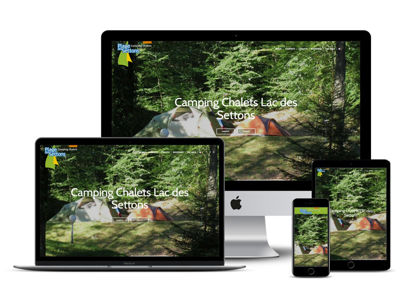 camping plage des settons website design