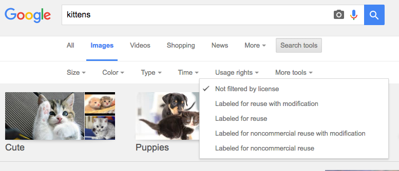 searching for reusable Google images