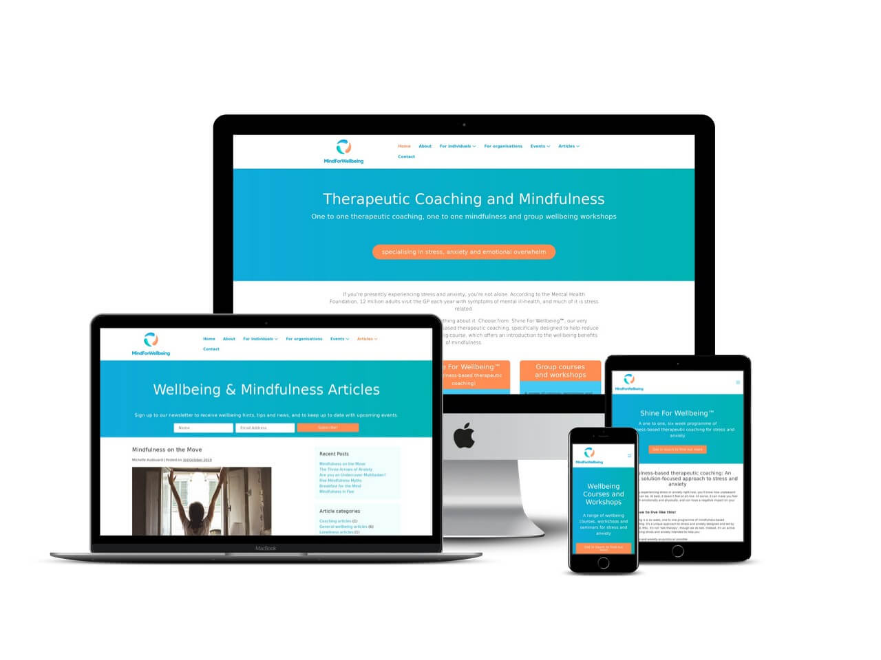 Therapeutic coach wellbeing website design Bedfordshire