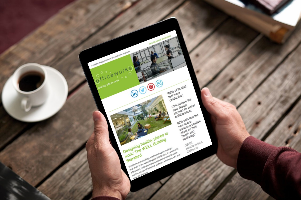 reading officeworks email newsletter on ipad