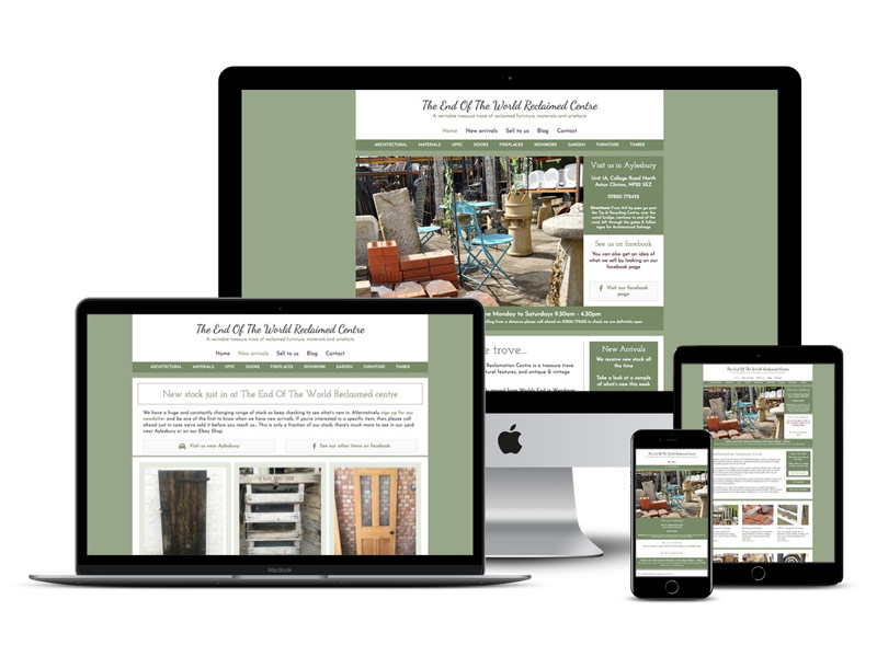 reclaimed centre aylesbury website design