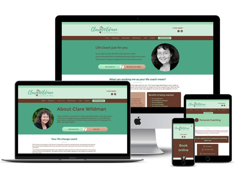 Clare Wildman Coaching website design Bletchley