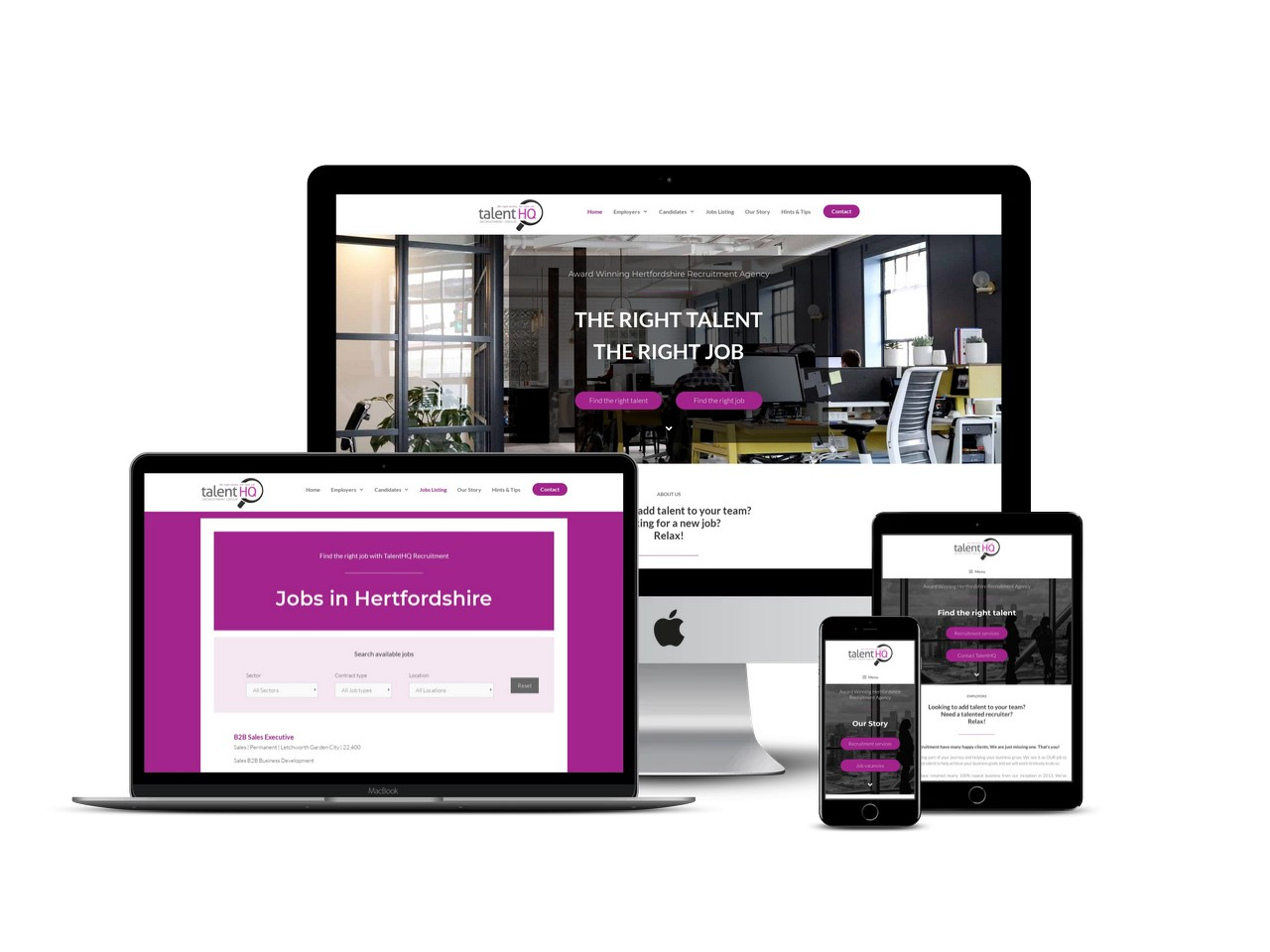 Recruitment agency website design Hertfordshire