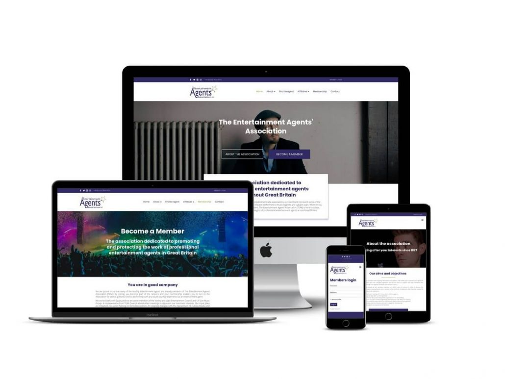 Entertainment agents association website design